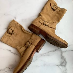 Frye Veronica Short Camel Suede Buckle Boot sz 8.5